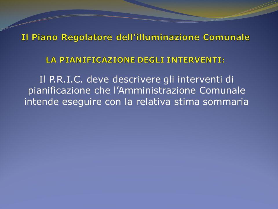 Il Piano Regolatore dell'illuminazione Comunale LA PIANIFICAZIONE DEGLI INTERVENTI: