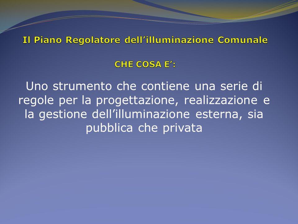 Il Piano Regolatore dell'illuminazione Comunale CHE COSA E':