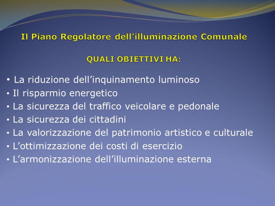 Il Piano Regolatore dell'illuminazione Comunale QUALI OBIETTIVI HA: