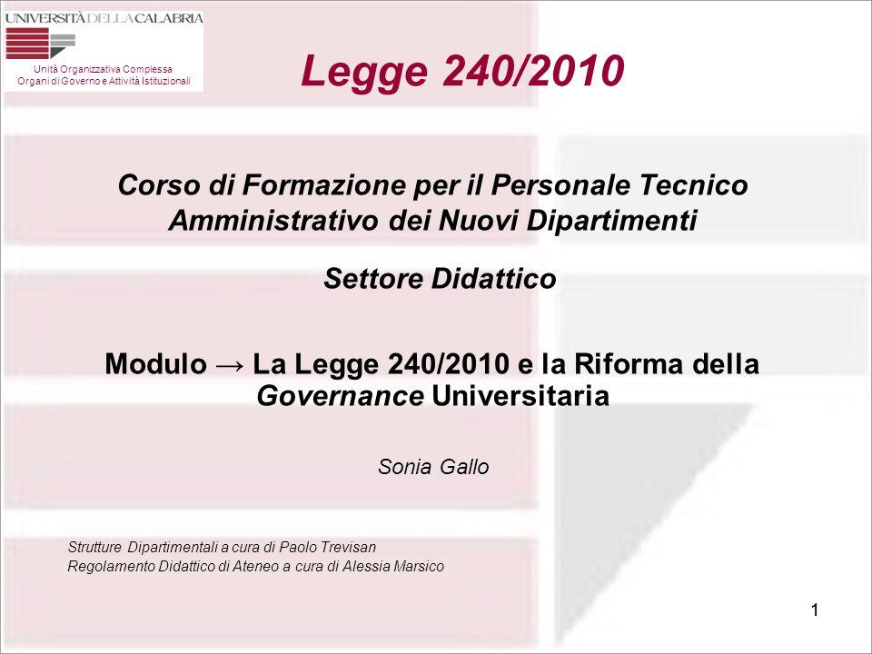 Modulo → La Legge 240/2010 e la Riforma della Governance Universitaria