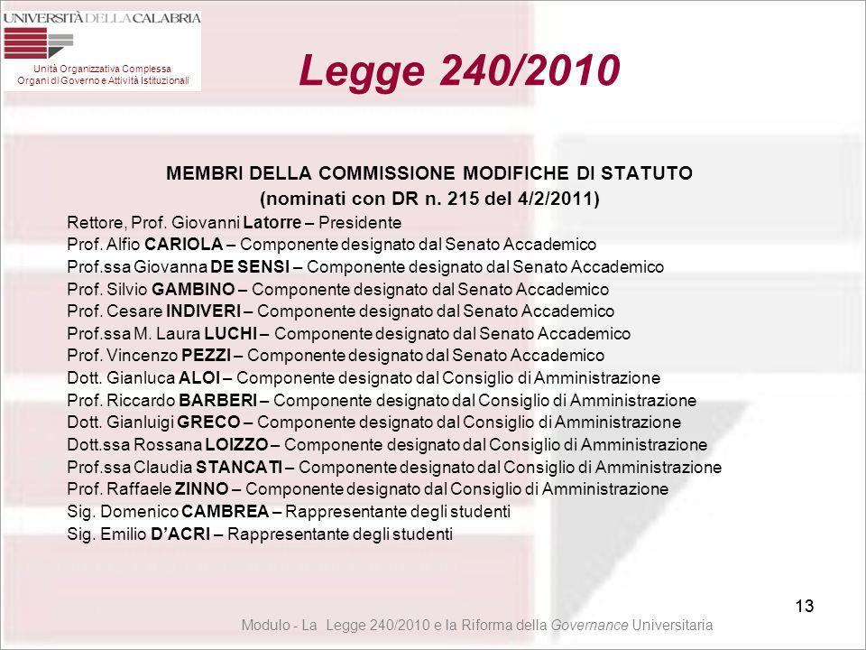 Legge 240/2010 MEMBRI DELLA COMMISSIONE MODIFICHE DI STATUTO