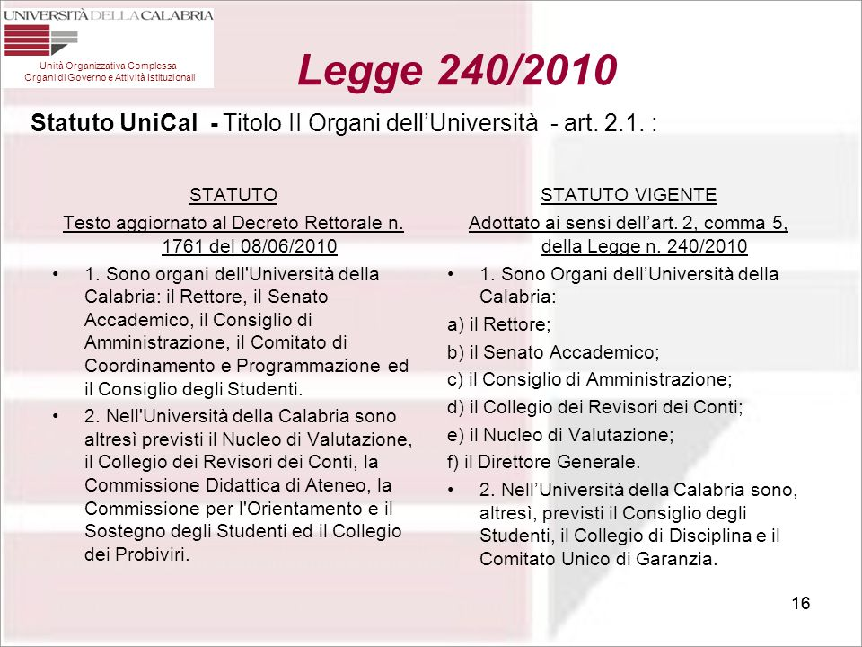 Statuto UniCal - Titolo II Organi dell'Università - art. 2.1. :