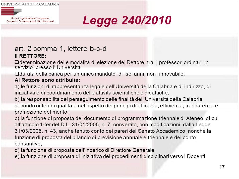Legge 240/2010 art. 2 comma 1, lettere b-c-d Il RETTORE: