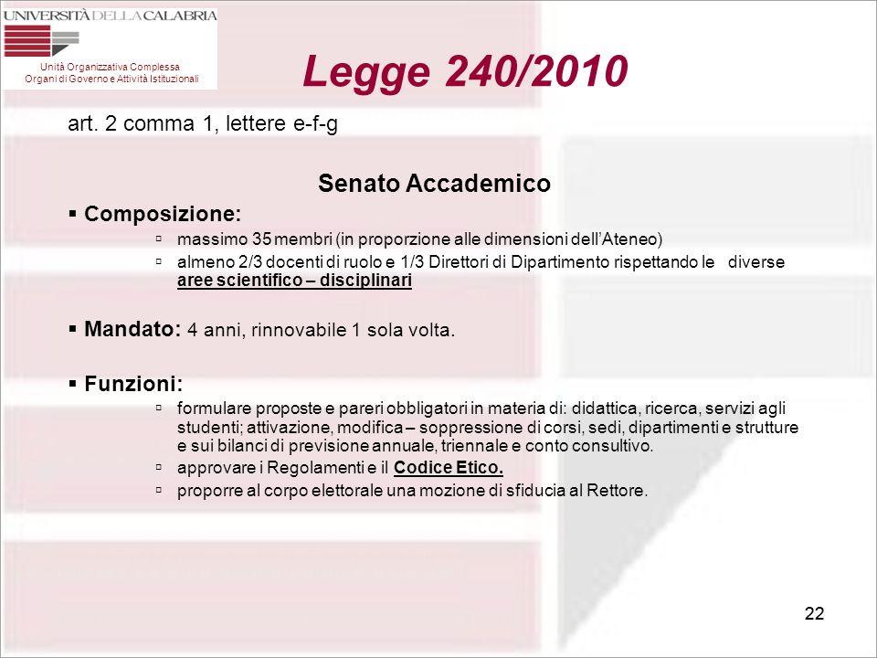 Legge 240/2010 Senato Accademico art. 2 comma 1, lettere e-f-g