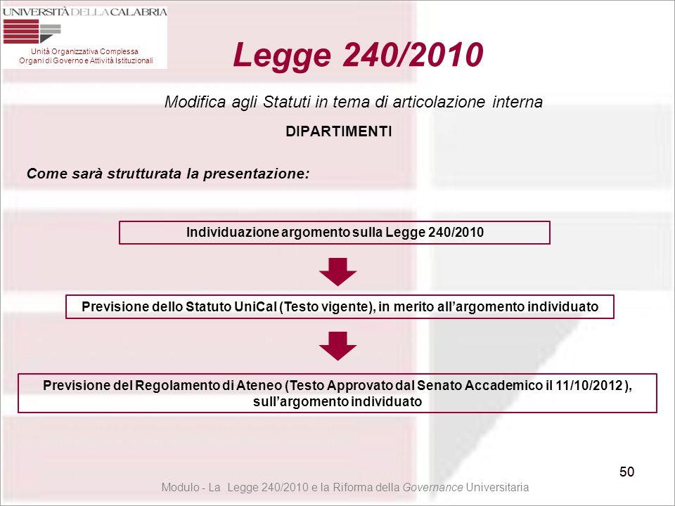 Individuazione argomento sulla Legge 240/2010