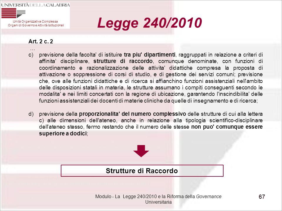 Modulo - La Legge 240/2010 e la Riforma della Governance Universitaria