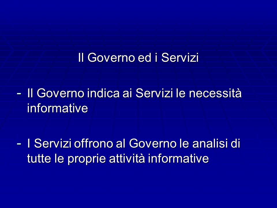 Il Governo ed i Servizi Il Governo indica ai Servizi le necessità informative.
