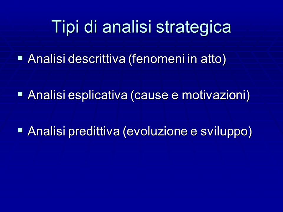 Tipi di analisi strategica