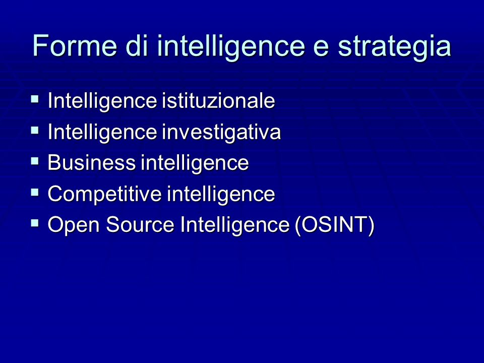 Forme di intelligence e strategia