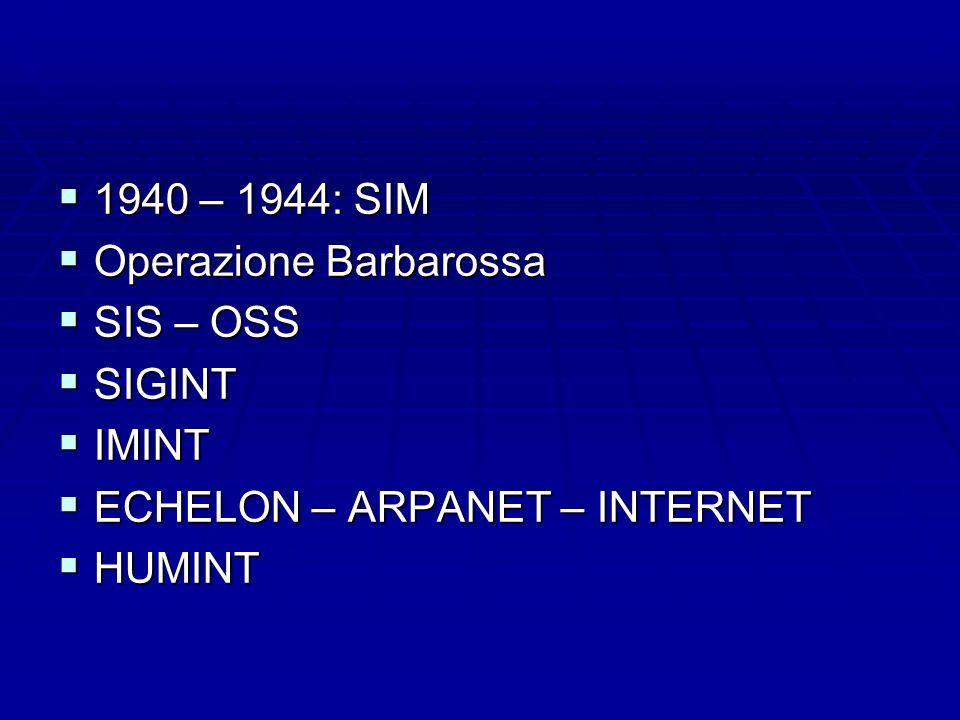 1940 – 1944: SIM Operazione Barbarossa SIS – OSS SIGINT IMINT ECHELON – ARPANET – INTERNET HUMINT