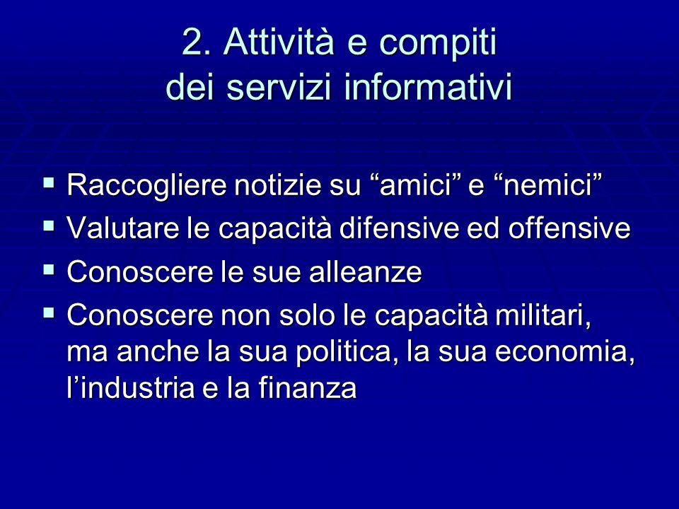 2. Attività e compiti dei servizi informativi