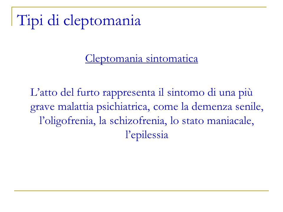 Cleptomania sintomatica