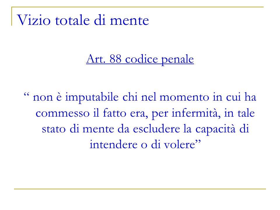 Vizio totale di mente Art. 88 codice penale