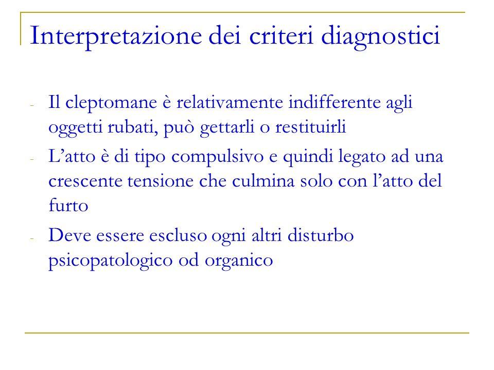 Interpretazione dei criteri diagnostici