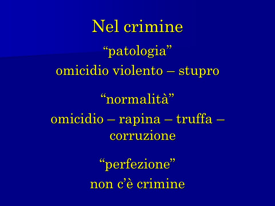 Nel crimine omicidio violento – stupro normalità