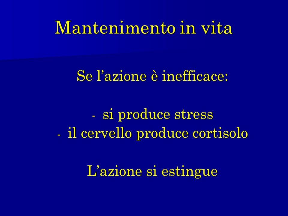 Mantenimento in vita Se l'azione è inefficace: si produce stress