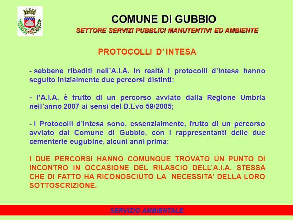 COMUNE DI GUBBIO PROTOCOLLI D' INTESA