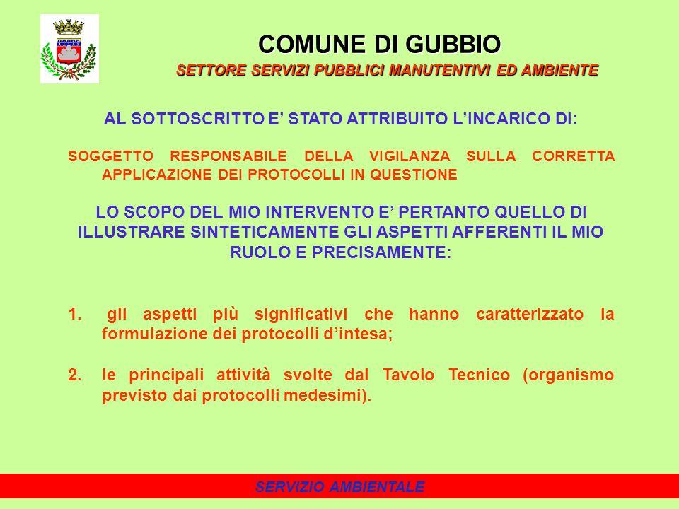 COMUNE DI GUBBIO AL SOTTOSCRITTO E' STATO ATTRIBUITO L'INCARICO DI: