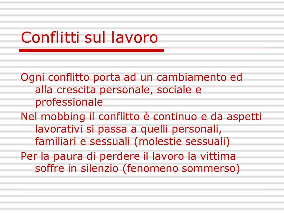 Conflitti sul lavoro Ogni conflitto porta ad un cambiamento ed alla crescita personale, sociale e professionale.