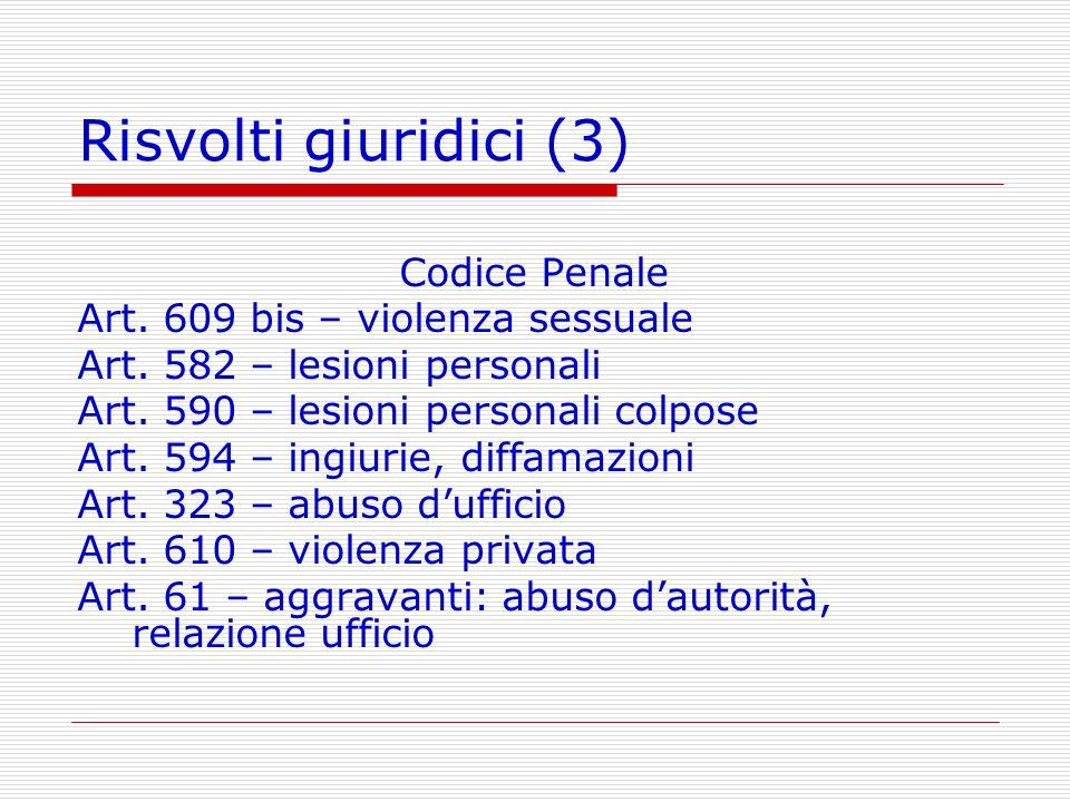 Risvolti giuridici (3) Codice Penale Art. 609 bis – violenza sessuale