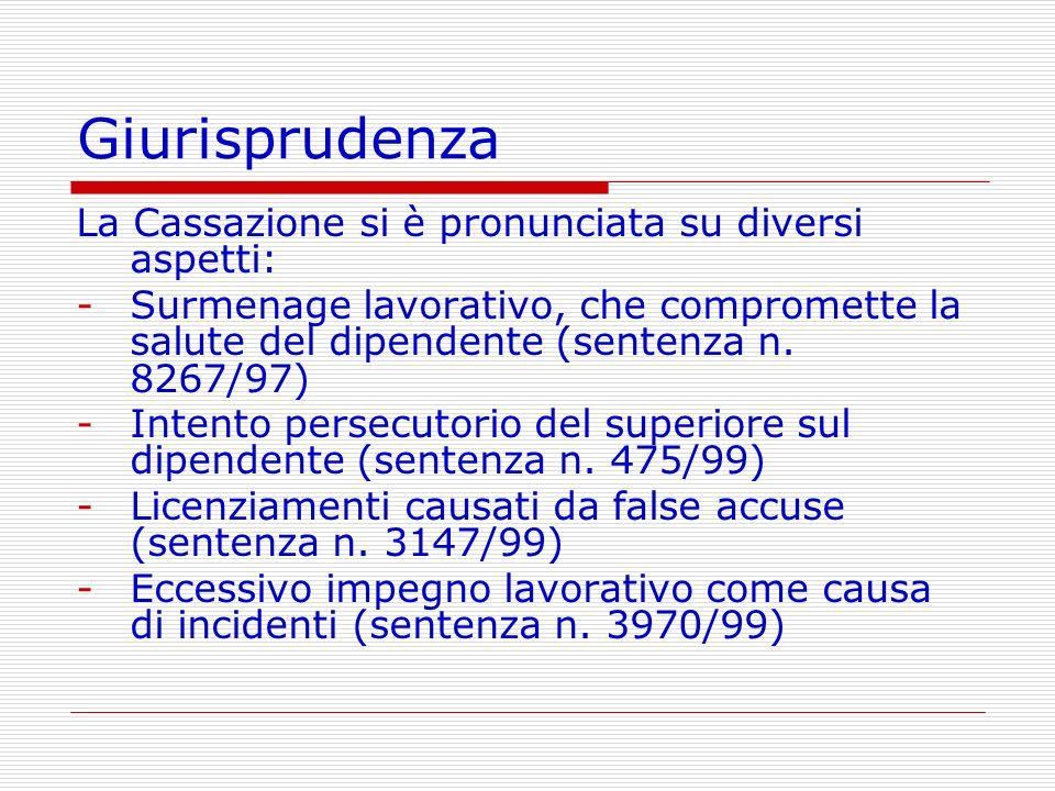 Giurisprudenza La Cassazione si è pronunciata su diversi aspetti: