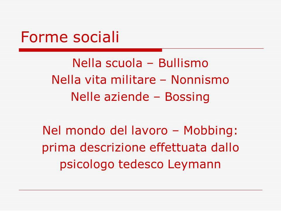 Forme sociali Nella scuola – Bullismo Nella vita militare – Nonnismo