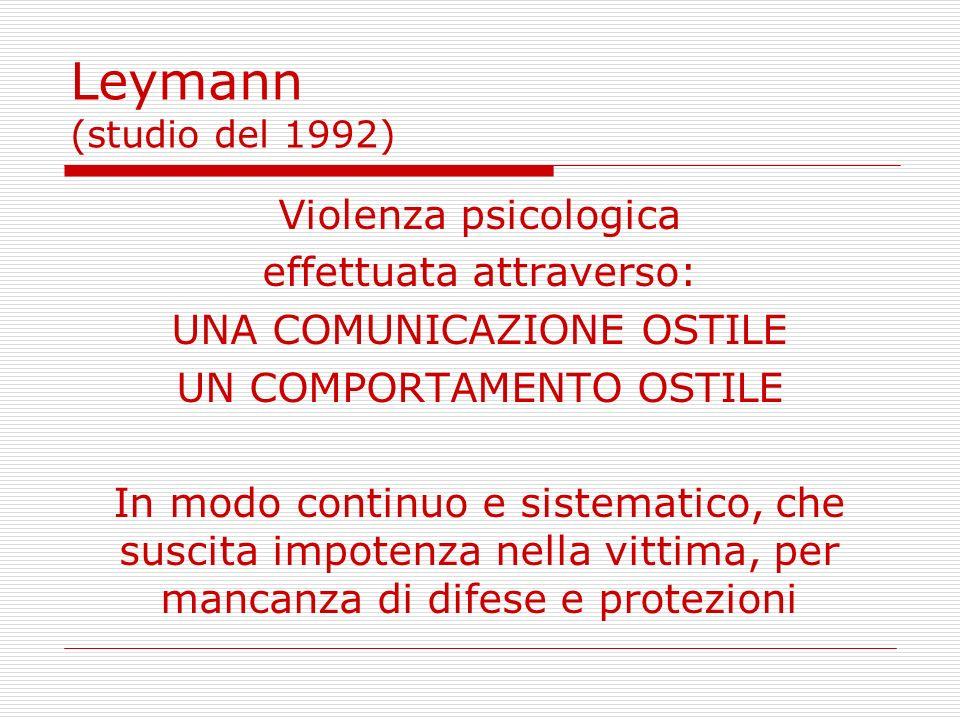 Leymann (studio del 1992) Violenza psicologica effettuata attraverso: