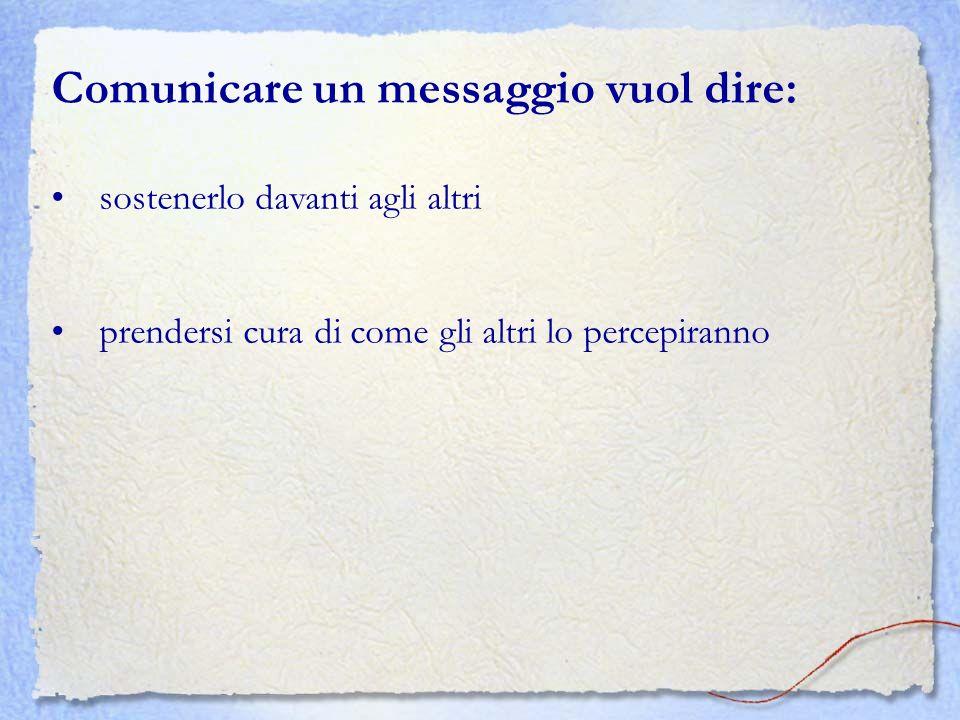 Comunicare un messaggio vuol dire: