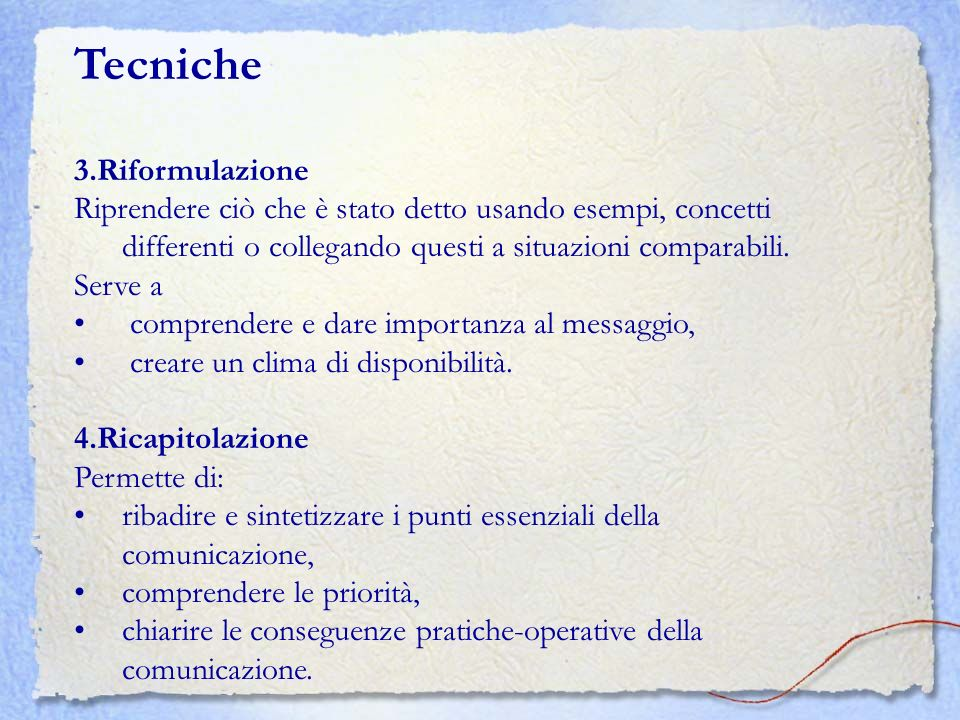 Tecniche 3.Riformulazione
