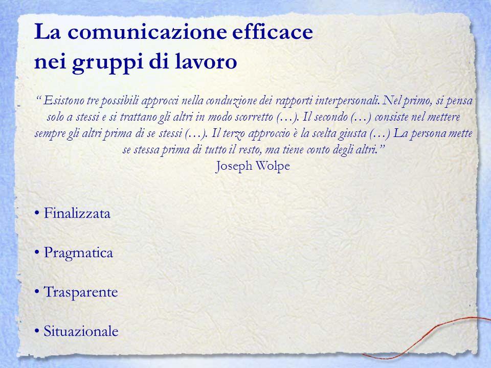 La comunicazione efficace nei gruppi di lavoro