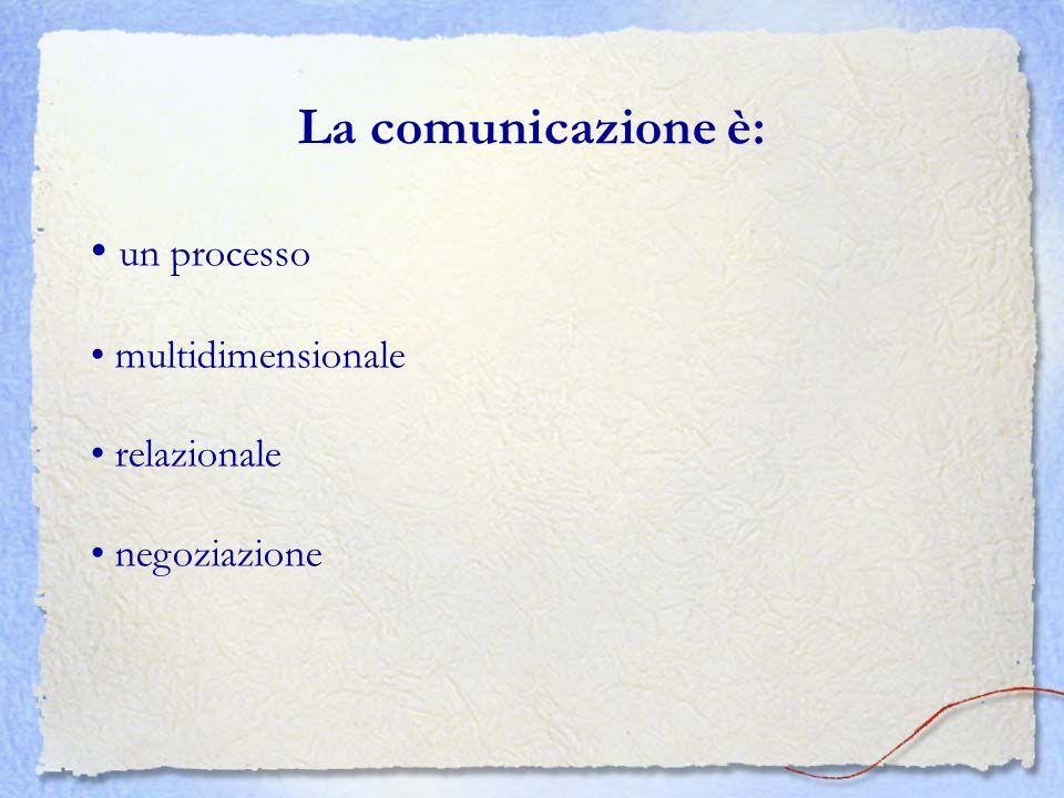 La comunicazione è: • un processo • multidimensionale • relazionale
