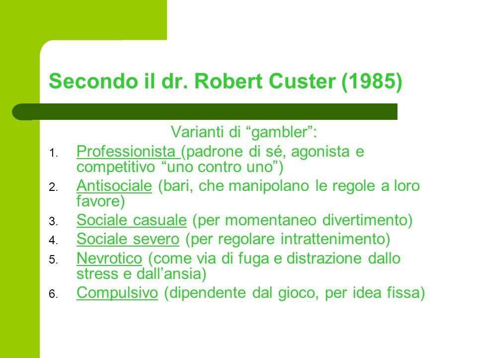 Secondo il dr. Robert Custer (1985)