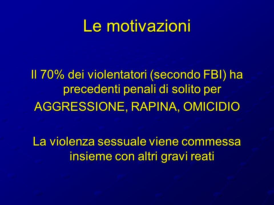 Le motivazioni Il 70% dei violentatori (secondo FBI) ha precedenti penali di solito per. AGGRESSIONE, RAPINA, OMICIDIO.