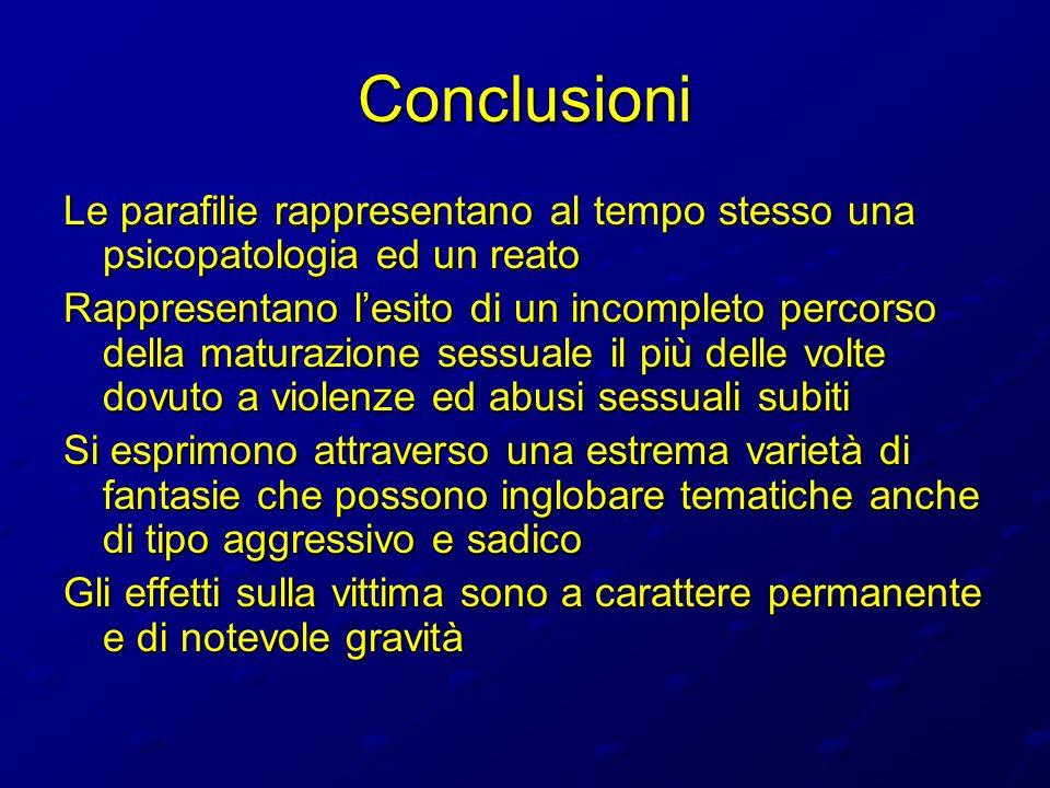 Conclusioni Le parafilie rappresentano al tempo stesso una psicopatologia ed un reato.