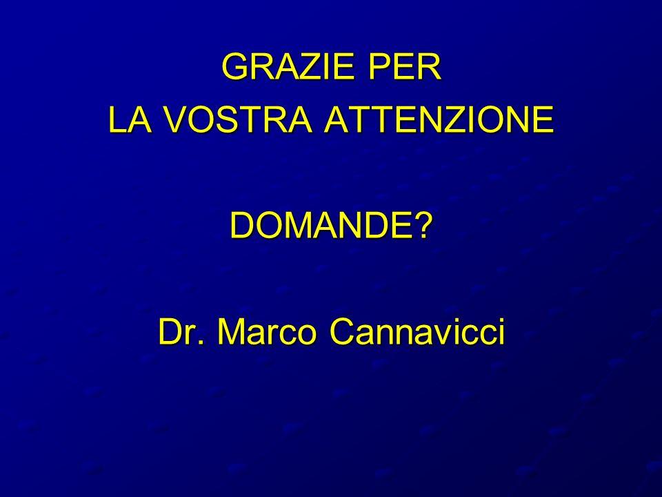GRAZIE PER LA VOSTRA ATTENZIONE DOMANDE Dr. Marco Cannavicci