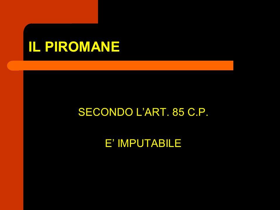 IL PIROMANE SECONDO L'ART. 85 C.P. E' IMPUTABILE