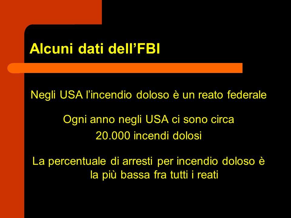 Alcuni dati dell'FBI Negli USA l'incendio doloso è un reato federale