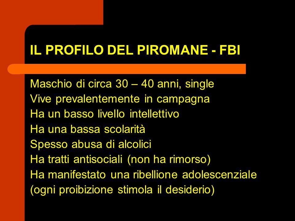 IL PROFILO DEL PIROMANE - FBI