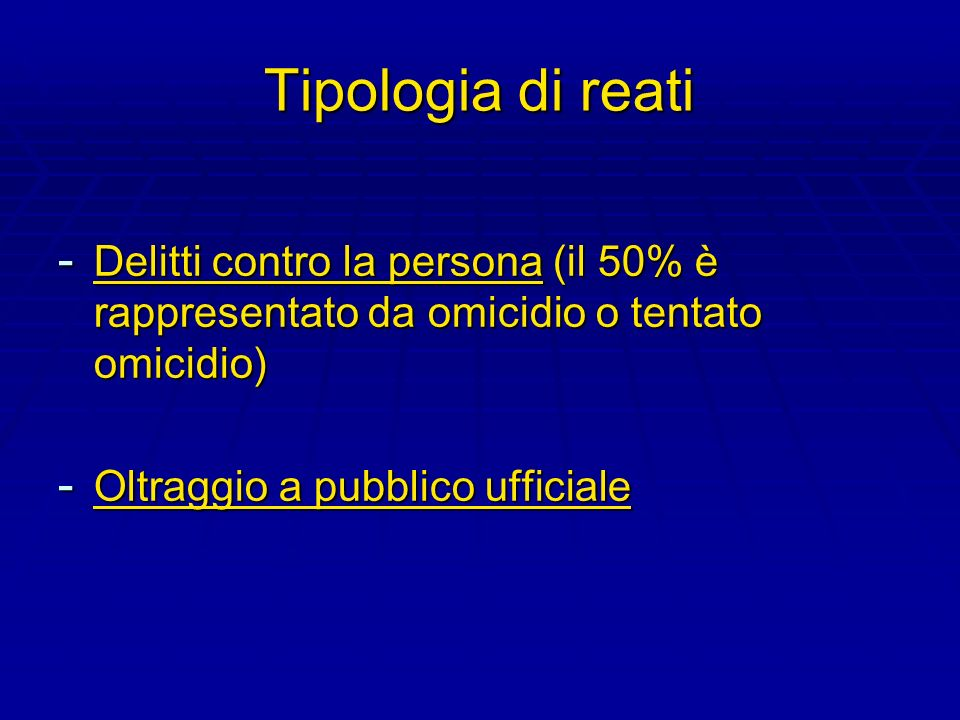 Tipologia di reatiDelitti contro la persona (il 50% è rappresentato da omicidio o tentato omicidio)