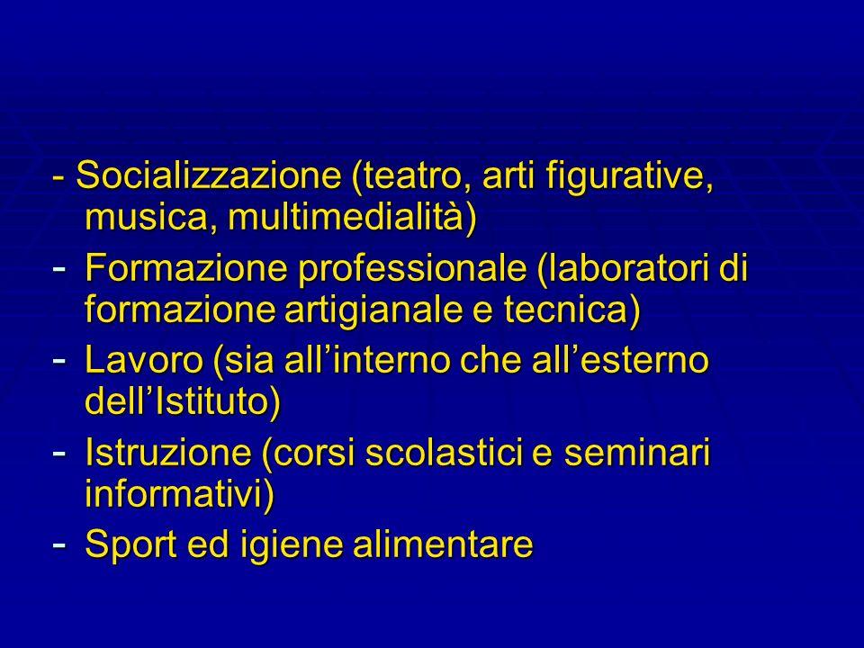 - Socializzazione (teatro, arti figurative, musica, multimedialità)