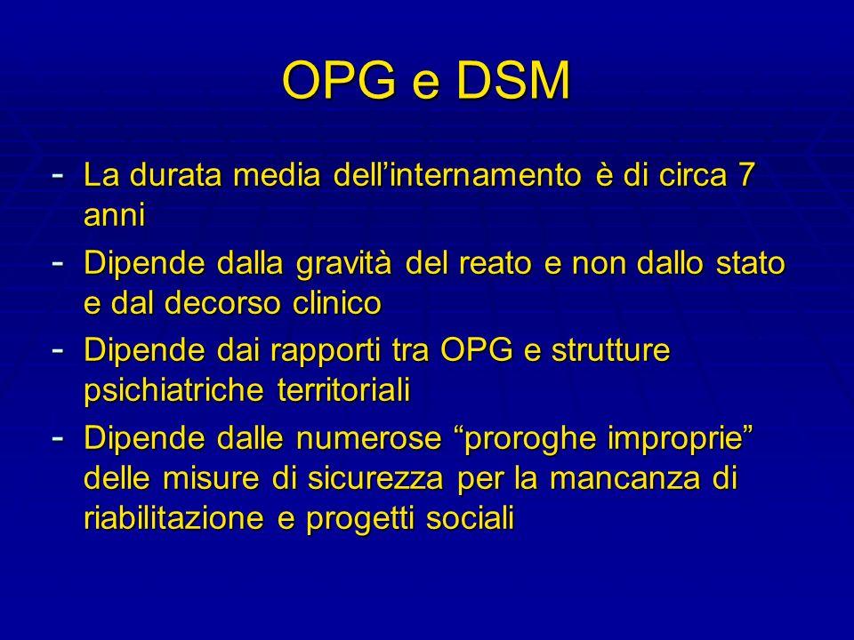 OPG e DSM La durata media dell'internamento è di circa 7 anni