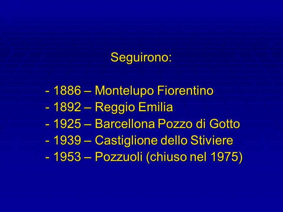Seguirono: - 1886 – Montelupo Fiorentino. - 1892 – Reggio Emilia. - 1925 – Barcellona Pozzo di Gotto.
