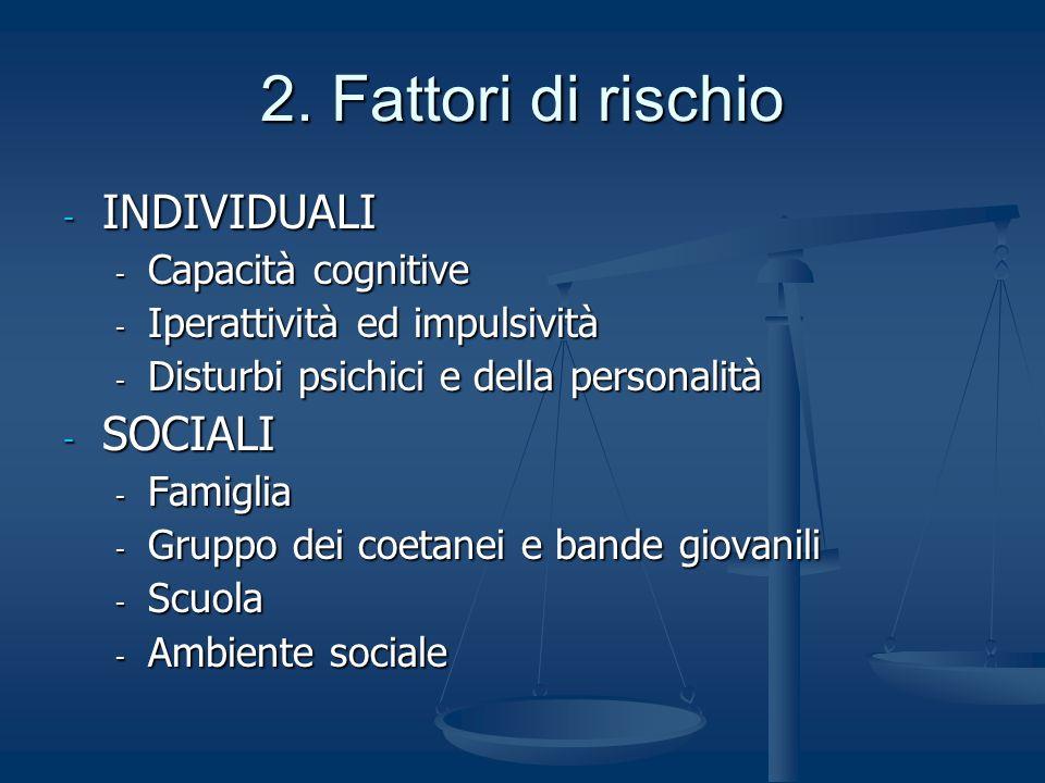 2. Fattori di rischio INDIVIDUALI SOCIALI Capacità cognitive