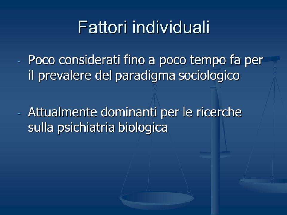 Fattori individuali Poco considerati fino a poco tempo fa per il prevalere del paradigma sociologico.