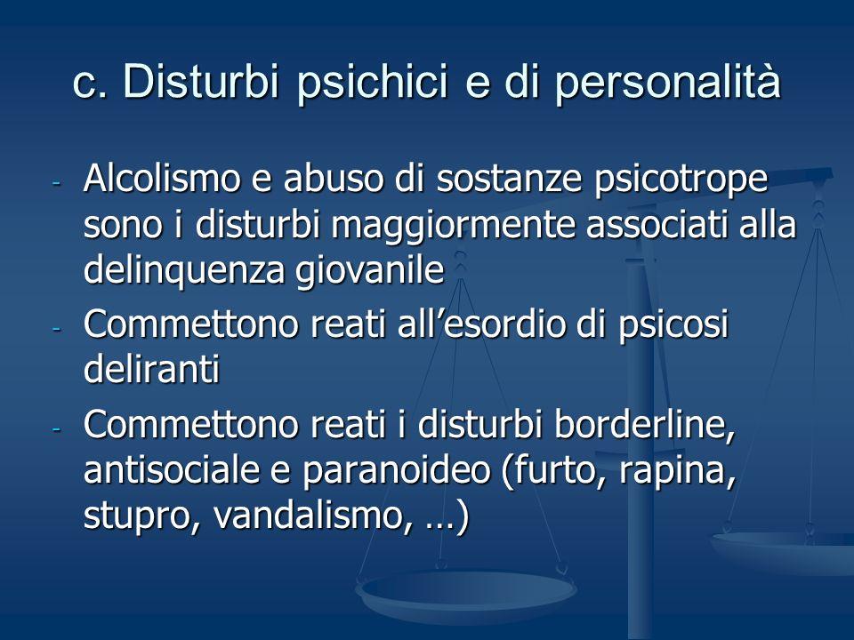 c. Disturbi psichici e di personalità