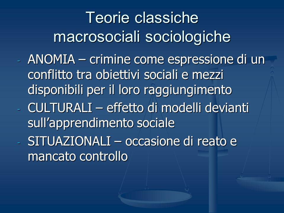 Teorie classiche macrosociali sociologiche