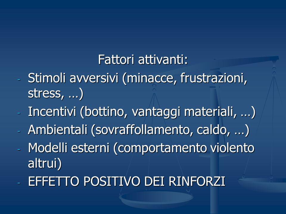 Fattori attivanti: Stimoli avversivi (minacce, frustrazioni, stress, …) Incentivi (bottino, vantaggi materiali, …)