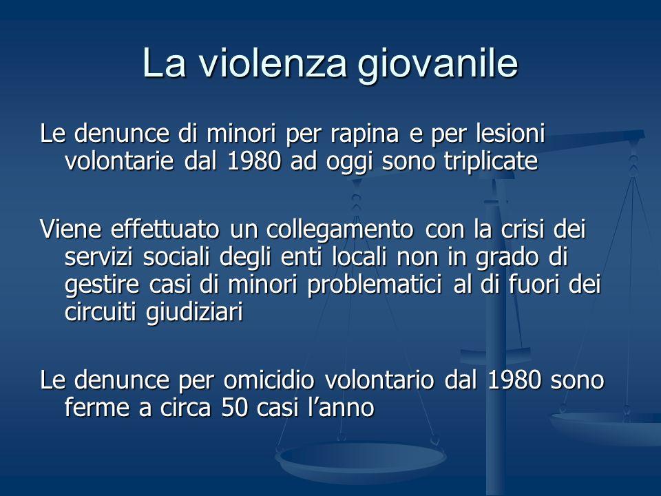 La violenza giovanile Le denunce di minori per rapina e per lesioni volontarie dal 1980 ad oggi sono triplicate.