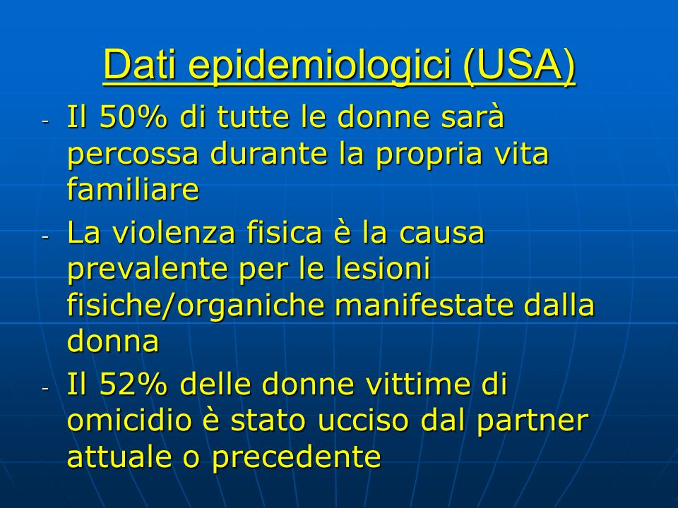 Dati epidemiologici (USA)
