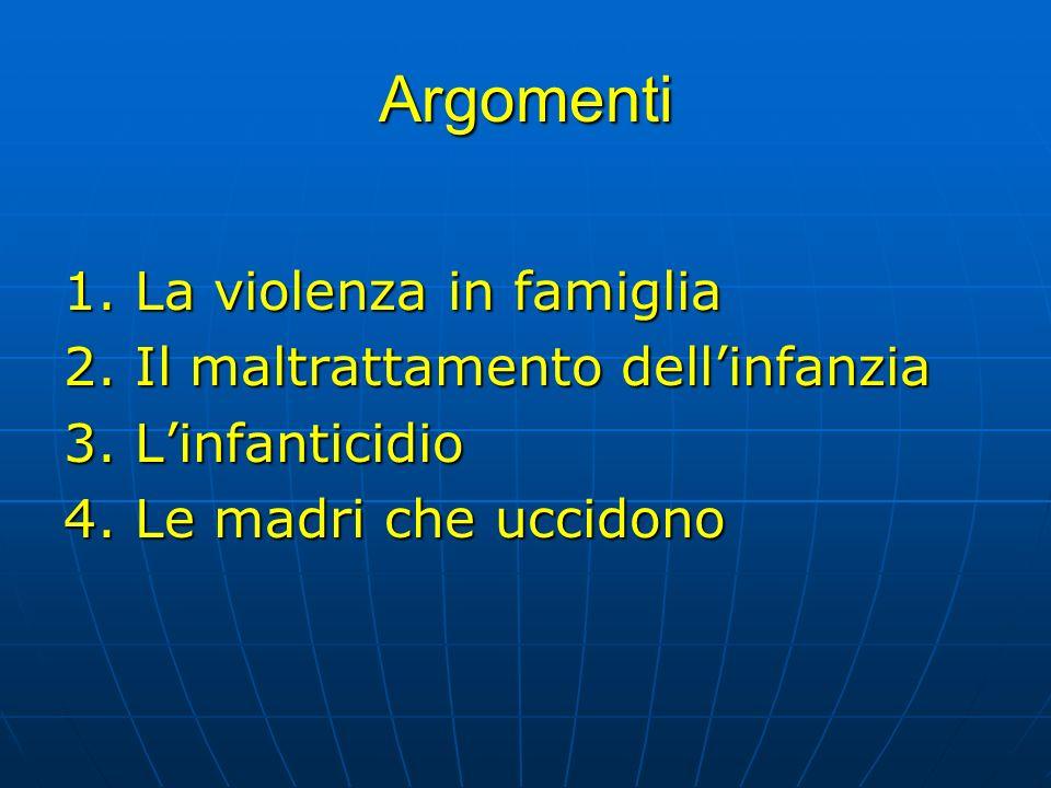 Argomenti 1. La violenza in famiglia